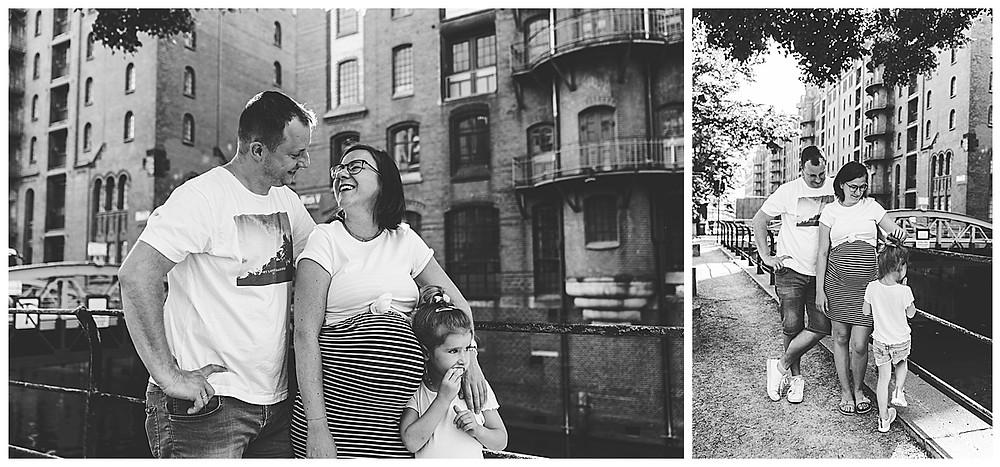 Schwangerschaftsshooting mit mann und Kind Arm in Arm Hamburg Speicherstadt