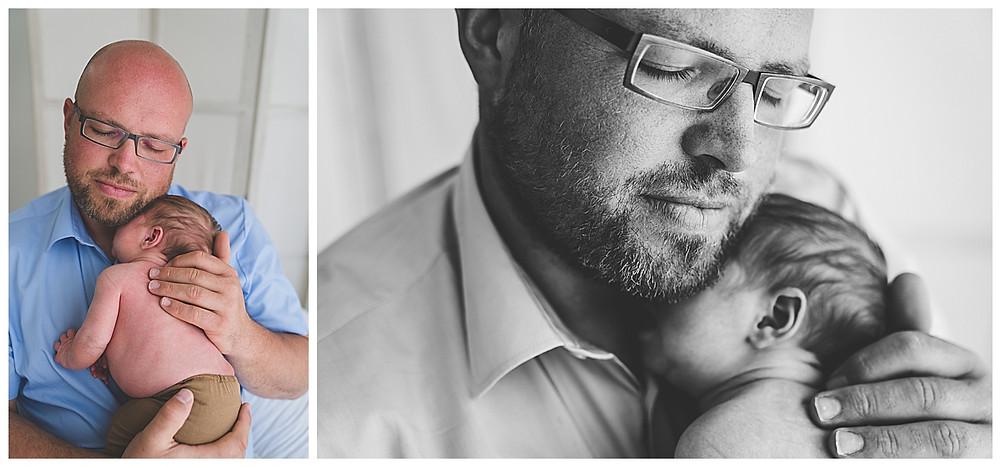 baby und papa bei babyshooting im Fotostudio