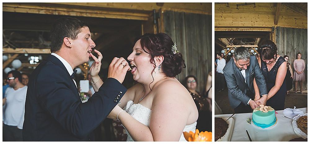 Hochzeitsfeier Lenderstuben Balzhausen  Hochzeitstorte essen