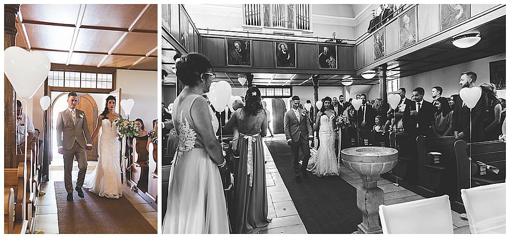 BrautpaarEeinzug kirchliche Hochzeit in Bolheim Hochzeitsfotograf Heidenheim