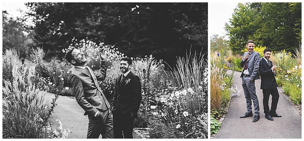 Bräutigam und Trauzeuge im Botanischen Garten in Ulm