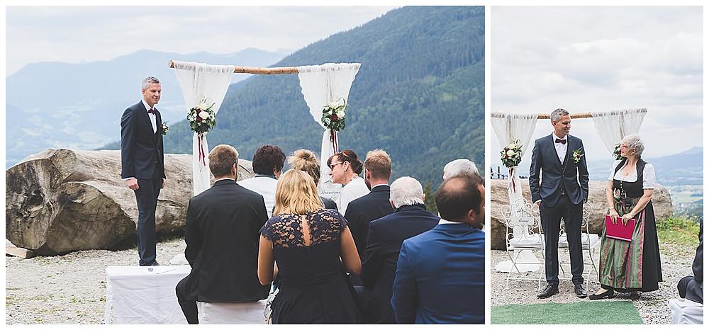 Freie Trauung auf der Alm warten auf die Braut