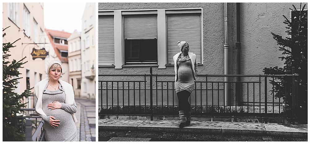 schwangere Frau lehnt am Geländer