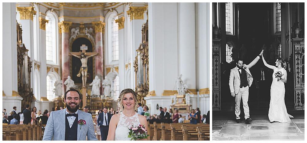 Kirchliche Hochzeit im Kloster Wiblingen  Auszug des Brautpaares
