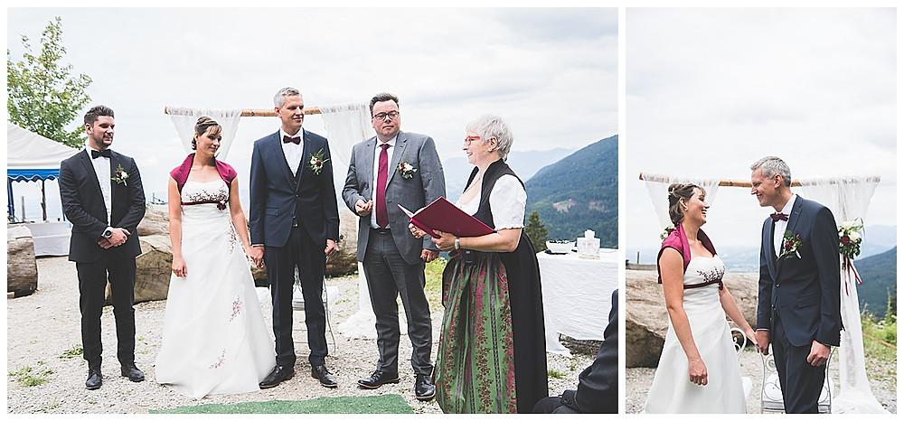 Alm Hochzeit Bad Feilnbach JA Wort Brautpaar