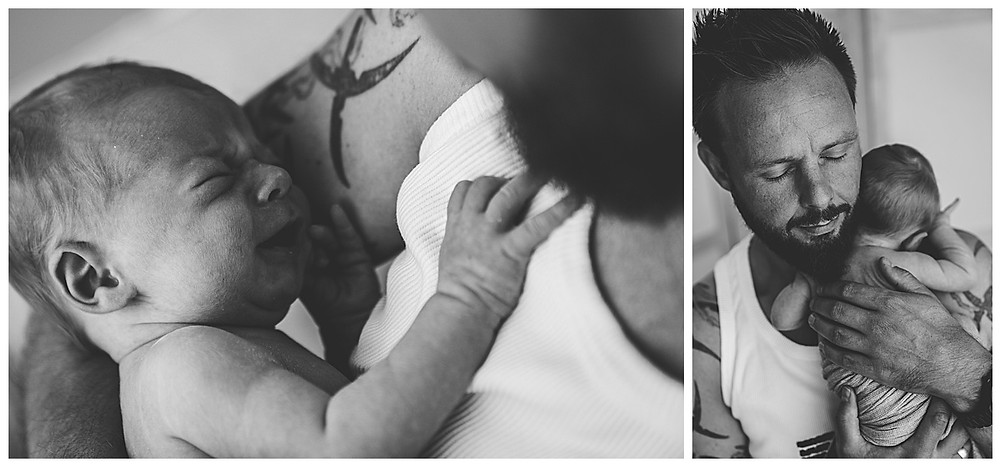 Papa und Baby beim Babyshooting