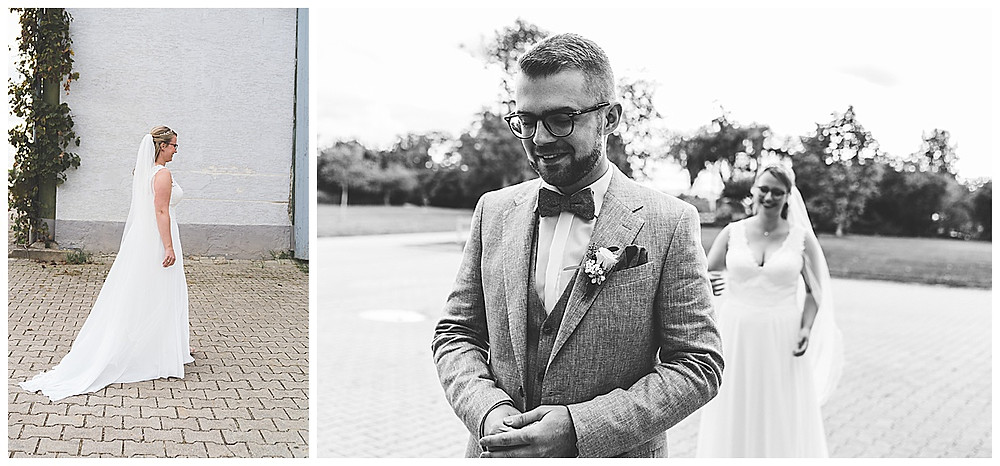 First Look Hochzeitsfotograf Augsburg  Braut kommt