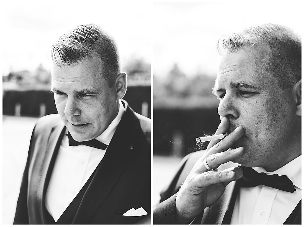Bräutigam  in Hamburg mit Zigarette in der Hand