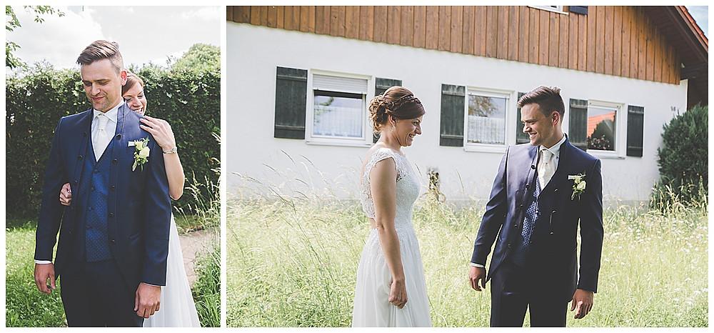 First Look im eigenen Garten im Allgäu heiraten