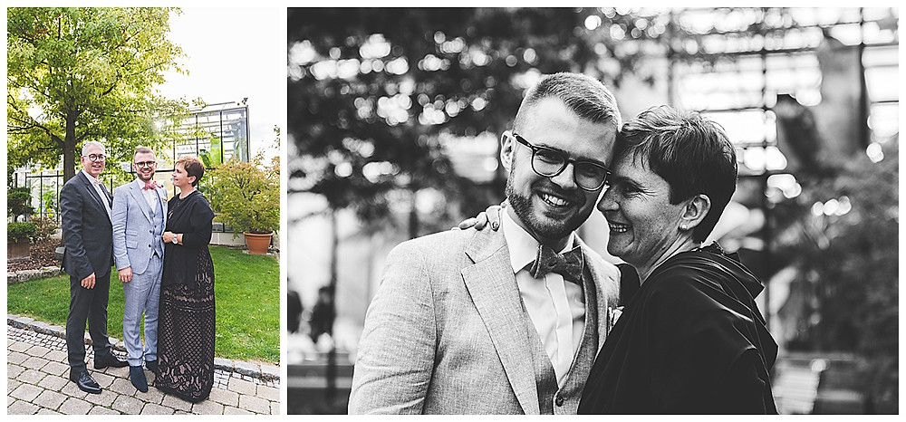 Familienbilder an der Hochzeit in Stuttgart Plan Garten