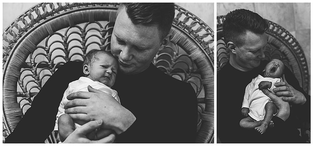frisch gebackener Papa im Fotostudio