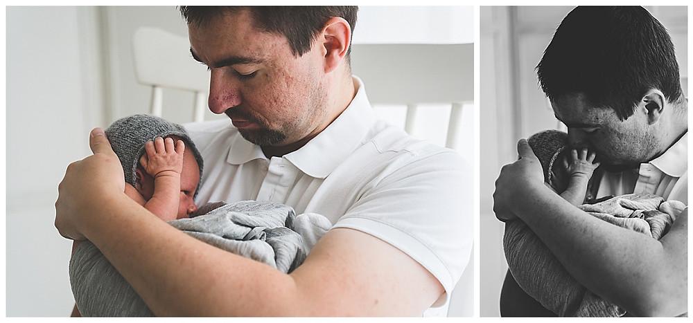 Papa und Sohn beim Babyfotografen