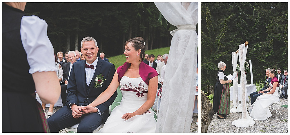 Alm Hochzeit Bad Feilnbach lachendes Brautpaar