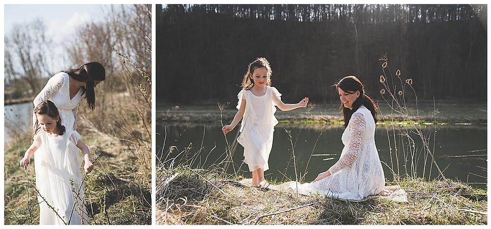 Mama macht mit Tochter Ausflug in die Natur