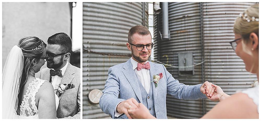 First Look Hochzeitsfotograf Augsburg Bräutigam sieht seine Braut