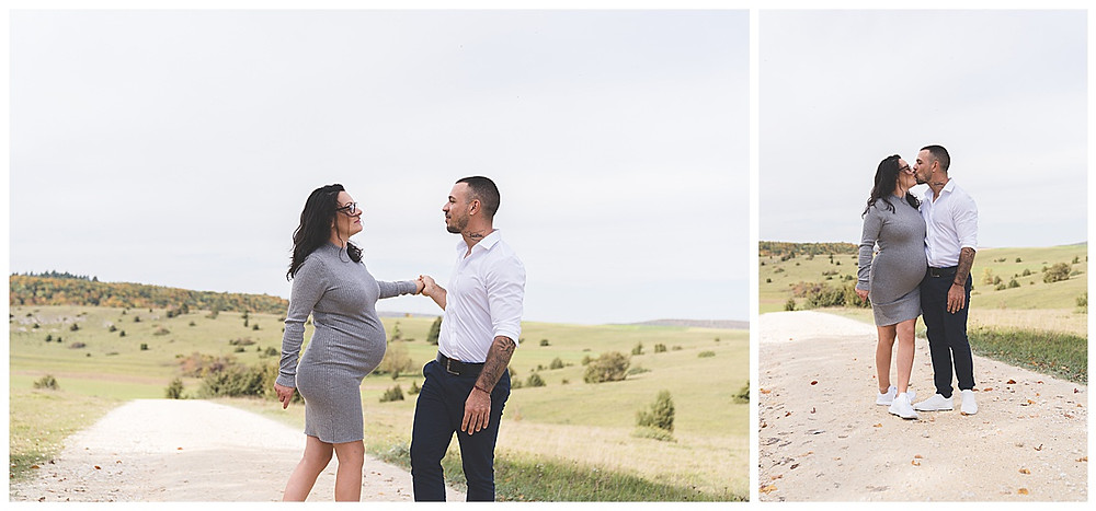 küssendes Paar mit Babybauch im Eselsburger Tal