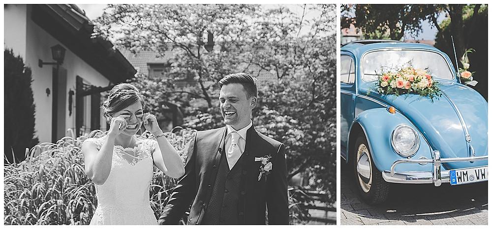 VW Käfer Hochzeitauto Braut weint