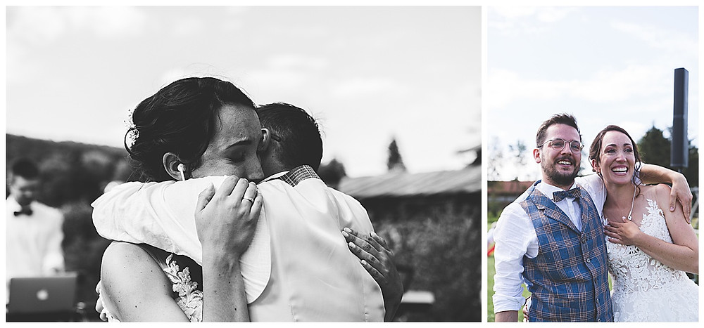 Braut und Bräutigam weinen und umarmen sich
