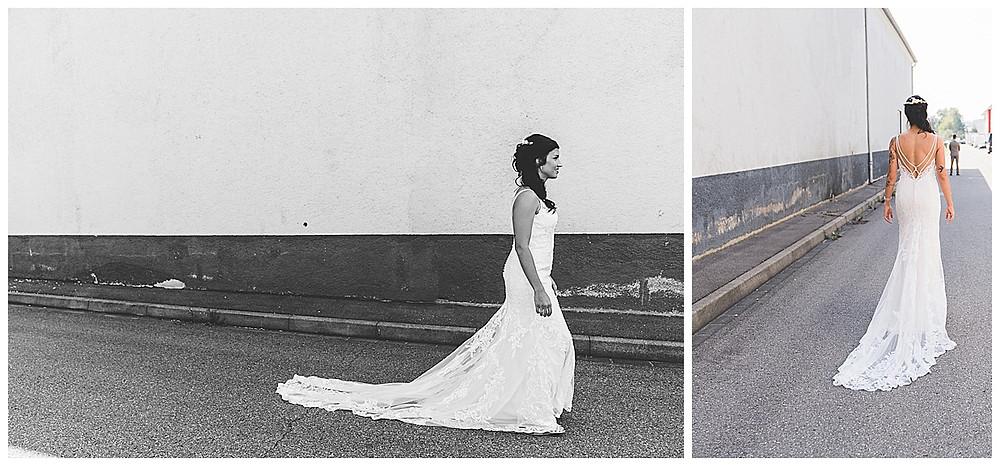 Hochzeitsfotograf Heidenheim First Look Industriegebiet Braut kommt