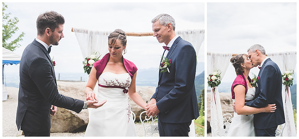 Brautppaar Ringwechsel auf der Berghochzeit