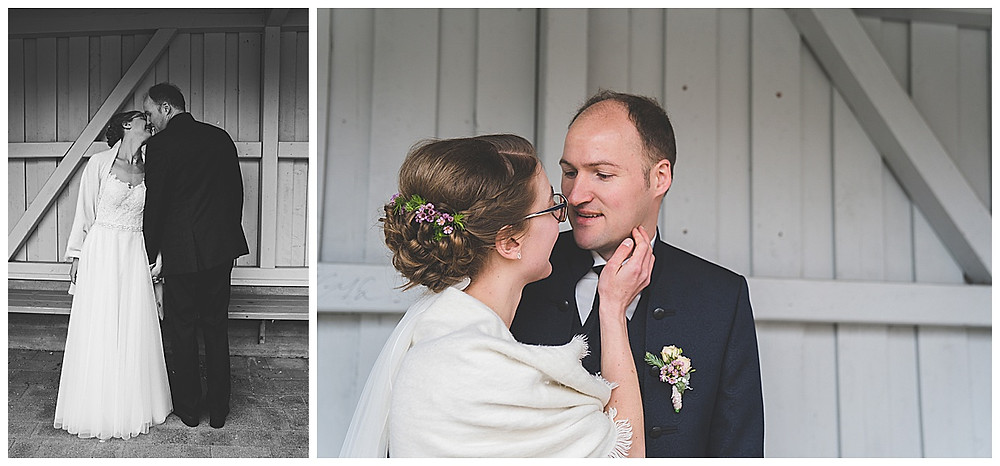 Brautpaarshoot stehend und küssend