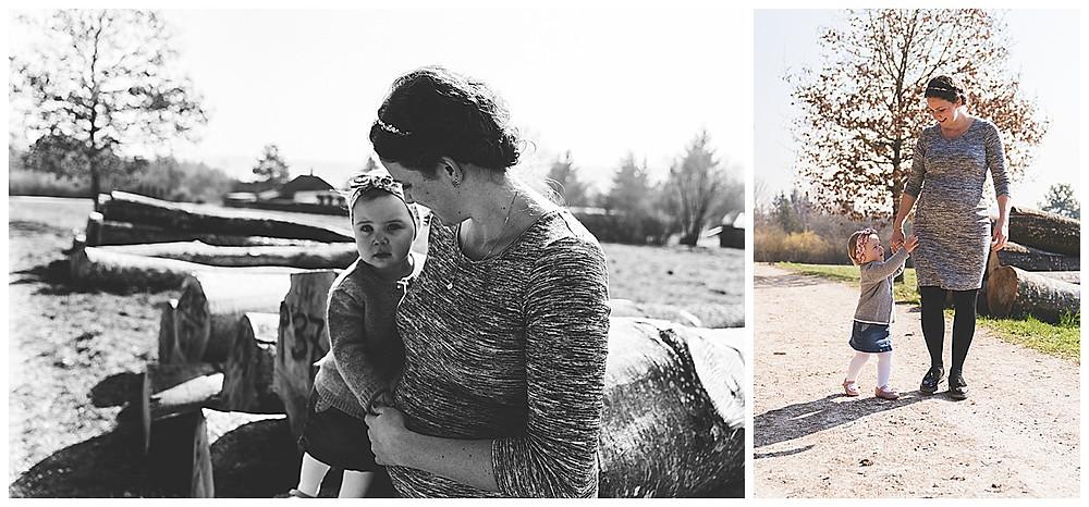 werdende Mama mit Geschwisterkind beim Schwangerschaftsshooting