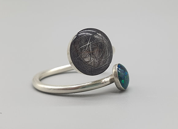Custom Hair Ring with Crushed Opals