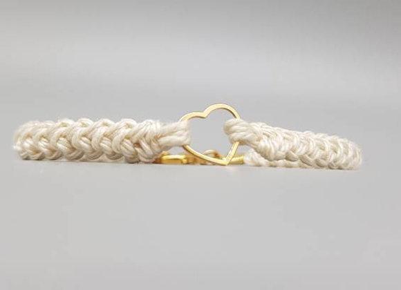 Gold Heart Cotton Bracelet
