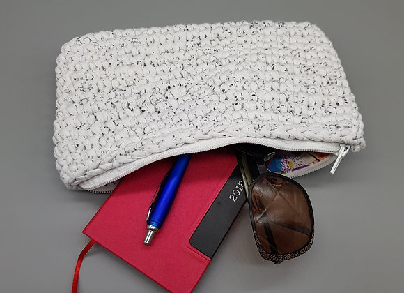 Small White & Black Crochet Pouch