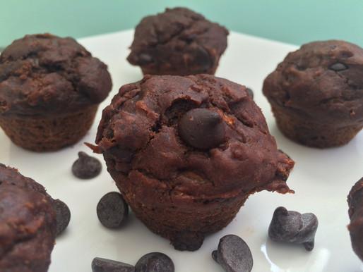 Chocolate Zucchini Carrot Muffins - Gluten, dairy & nut free