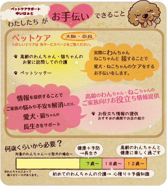 老犬|老猫|老犬介護|老犬介護シッター|老猫介護シッター|大阪|奈良|柏原市|ゆいはぁと