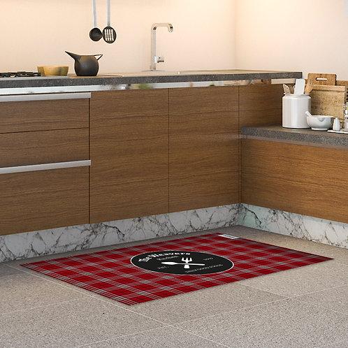 שטיח מטבח אדום משובץ