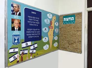 עיצוב קיר זהות ישראלית ולוח מודעות
