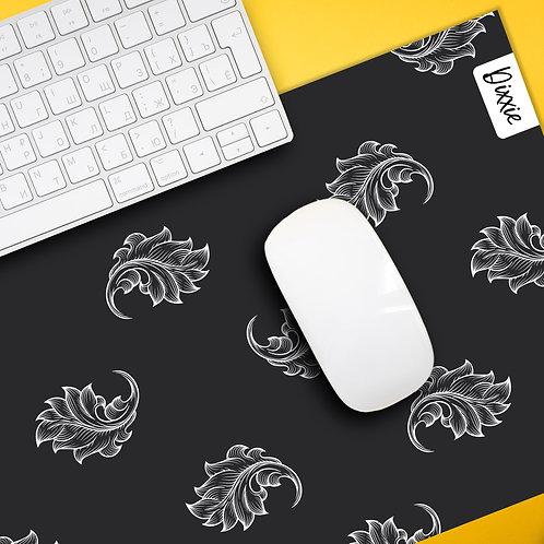 משטח עכבר עלים שחור לבן