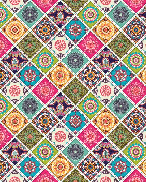 שטיח PVC לסלון -צבעוני רטרו