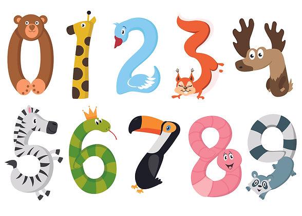 מדבקת קיר חיות ומספרים