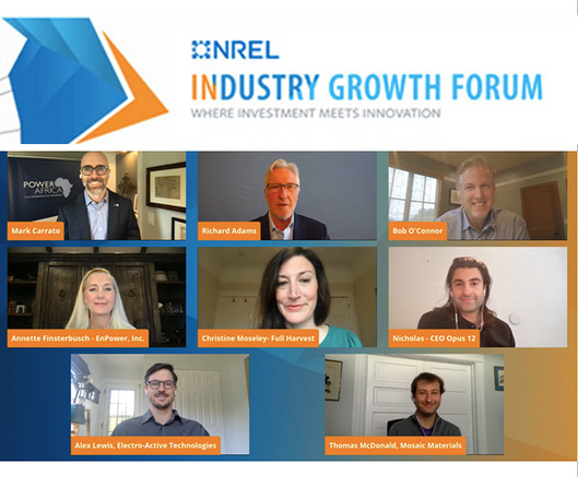 Five Cleantech Innovators Receive Awards at 2021 NREL Industry Growth Forum