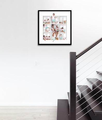 Famed print hanging near steps.