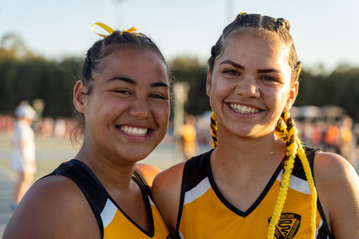Two competitors at Netball State Age Cha