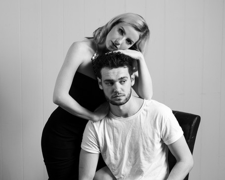 Black and white model portfolio with male and female models