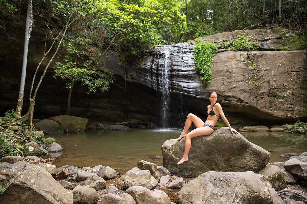 Taking time out for a quick dip at Buderim Falls
