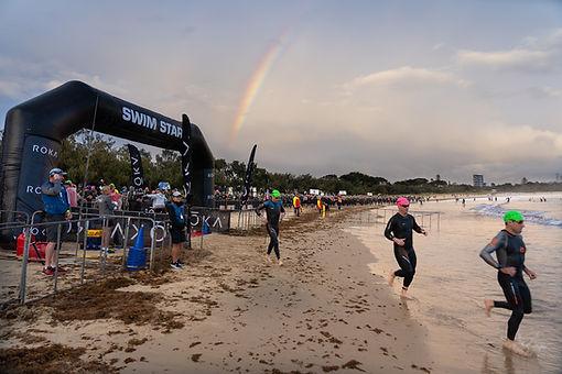 Rainbow over Ironman 70.3 at Mooloolaba