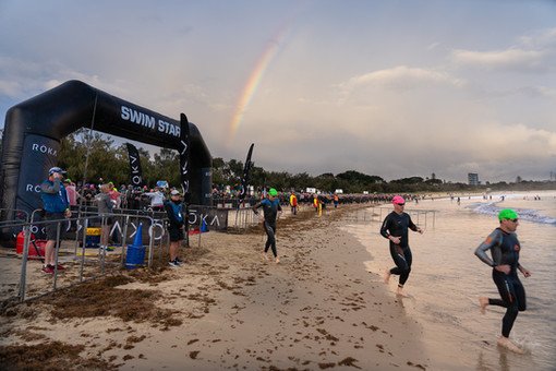 Rainbow over Ironman 70.3 at Mooloolaba