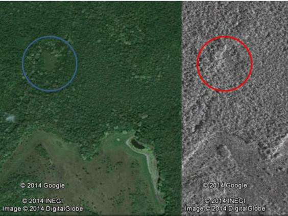 Satellite images compared with Google Earth show potentially man-made structures beneath the jungle canopy (Canadian Space Agency)
