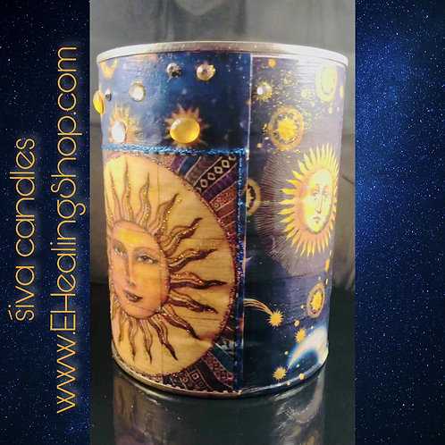 Up-cycled CELESTIAL- twenty ounce hand poured soy candle