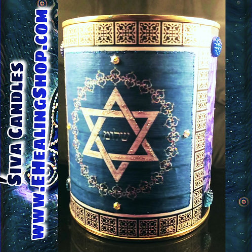 Up-cycled HAMSA JUDAICA- twenty ounce hand poured soy candle