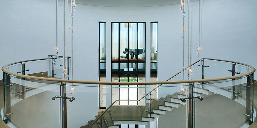 Interior glass balustrades