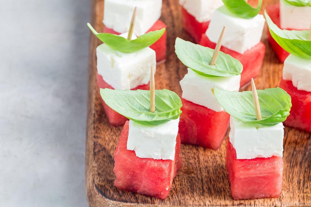 Hellim watermelon bites skewers