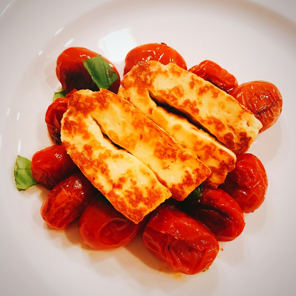 Pan Seared Hellim with Blistered Cherry Tomatoes