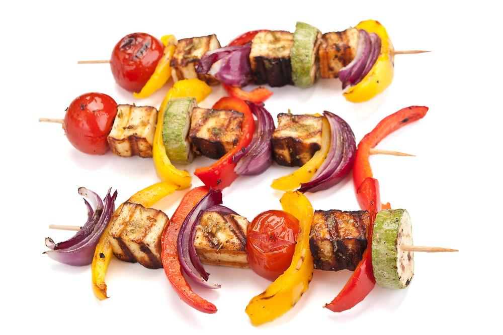 Grilled Hellim Veggie Kebabs